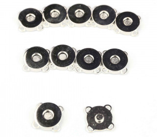 10 Magnetverschlüsse - Zum Annähen - 18mm - Silber