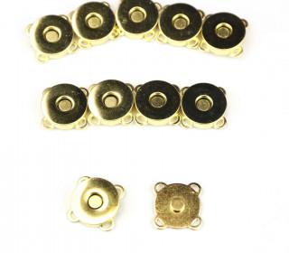 10 Magnetverschlüsse - Zum Annähen - 18mm - Gold