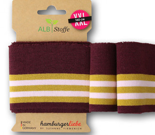 Bio-Bündchen - College - 4 Stripes - Bliss - Multi - Cuff Me - Hamburger Liebe - Aubergine