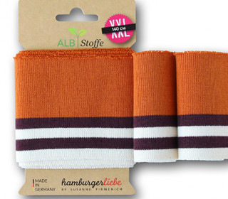 Bio-Bündchen - College - 4 Stripes - Bliss - Multi - Cuff Me - Hamburger Liebe - Orange Dunkel
