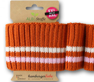 Bio-Bündchen - Cozy Stripes - Grobstrick - Bliss - Multi - Cuff Me - Hamburger Liebe - Orange Dunkel