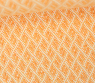 Bio-Jacquard Jersey - 3D - Fence Knit - Bliss - Orange Hell/Warmweiß - Hamburger Liebe