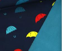Softshell - Fleece - Bunte Regenschirme - Dunkelblau/Petrol