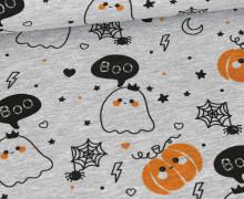 Sommersweat - Gespenster & Kürbisse - Halloween - Grau Meliert - Anna Anjos - abby and me
