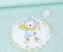 Sommersweat - Bio Qualität - Paneel -  Herbstliebe - Hase - Sterne - Treeebird - Mint - abby and me