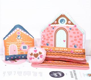Kissenstoff - DIY - Lebkuchenhaus - Kissen-Set - 3 Kissen - Sammelwimpel - Rosa Hellbraun - Anna Anjos - abby and me