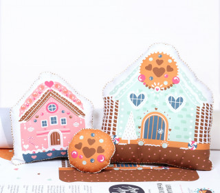 Kissenstoff - DIY - Lebkuchenhaus - Kissen-Set - 3 Kissen - Sammelwimpel - Rosa Mint - Anna Anjos - abby and me