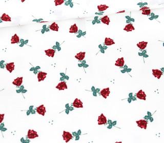 Baumwollstoff - Kleine Rote Rosen - Weiß