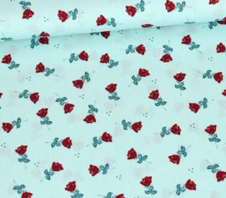 Baumwollstoff - Kleine Rote Rosen - Mint