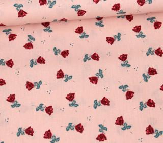Baumwollstoff - Kleine Rote Rosen - Lachsrosa