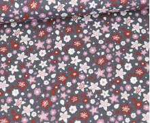 Baumwollstoff - Blumenwiese - Grau/Rosa