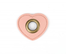 Kunstleder Öse - Herz - 11mm - Heart - Patches - Rosa/Altmessing