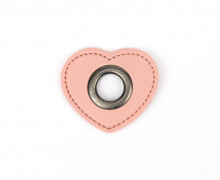 Kunstleder Öse - Herz - 11mm - Heart - Patches - Rosa/Anthrazit