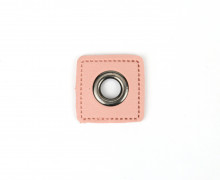 Kunstleder Öse - Quadrat - 8mm - Square - Patches - Rosa/Anthrazit