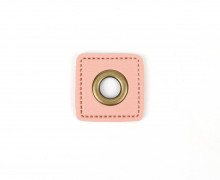 Kunstleder Öse - Quadrat - 8mm - Square - Patches - Rosa/Altmessing