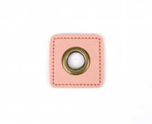 Kunstleder Öse - Quadrat - 11mm - Square - Patches - Rosa/Altmessing
