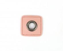 Kunstleder Öse - Quadrat - 11mm - Square - Patches - Rosa/Anthrazit
