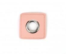Kunstleder Öse - Quadrat - 12mm - Square - Patches - Rosa/Silber