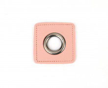 Kunstleder Öse - Quadrat - 12mm - Square - Patches - Rosa/Anthrazit