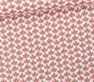 Baumwollstoff - Webware - Popelin - Bedruckt - Muster - 150cm - Blätter - Rosa/Grün