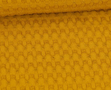 Waffel Piqué - Große Waffelstruktur - Baumwolle - Uni - Senfgelb