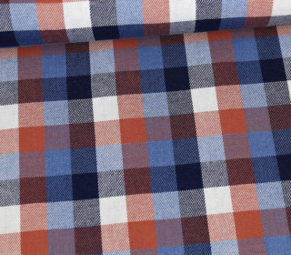 Baumwollstoff - Jeans Optik - Kariert - Jeansblau/Orangebraun