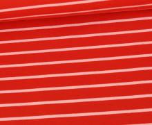 Sommersweat - French Terry - Streifen - Rot/Babyrosa