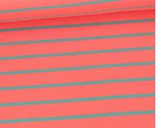 Sommersweat - French Terry - Streifen - Lachsrosa/Lichtgrün Dunkel