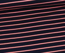 Sommersweat - French Terry - Streifen -Nachtblau/Rosa