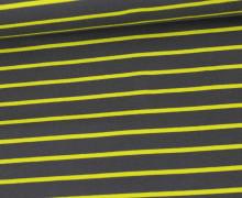 Sommersweat - French Terry - Streifen - Grau/Zitronengelb