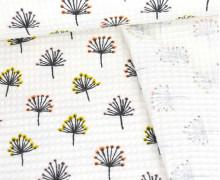 Waffel Piqué - Bunte Blumen - Baumwolle - Weiß