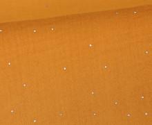 Musselin - Muslin - Double Gauze - 3D - Punkte - Silber - Orangegelb