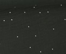 Musselin - Muslin - Double Gauze - 3D - Punkte - Silber - Schwarz