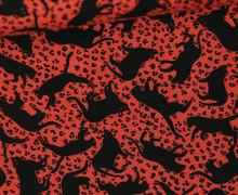 Viskose - Blusenstoff - Katzen - Rot
