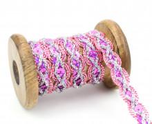 1 Meter Zierband - Dekoband - Einfassband -  15mm - Pailletten - Pink/Silber