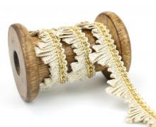 1 Meter Zierband - Dekoband - Einfassband - 20mm - Metallkette - Schlaufen - BeigeGold