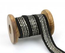 1 Meter Zierband - Dekoband - Einfassband - 20mm - Metall - Schwarz/Silber
