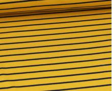 Sommersweat - French Terry - Streifen - Ocker/Dunkelblau