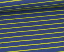 Sommersweat - French Terry - Streifen - Taubenblau Dunkel/Gelbgrün