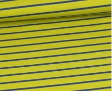 Sommersweat - French Terry - Streifen - Gelbgrün/Taubenblau Dunkel