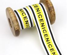 1 Meter Zierband - Dekoband - Einfassband -  30mm - Nice - Streifen - Weiß/Gelb