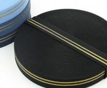 1 Meter Gummiband - 30mm - Two Stripes - Glitzer - Schwarz/Gold