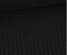 Waffelstrick - Strickstoff - Uni - Schwarz