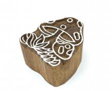 Stempel - Original Textilstempel - Indischer Holzstempel - Stoffdruck - Fliegenpilz - Wiese - Klein