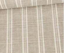 Baumwolle - Leinen - Feine Streifen - 160g - Beige