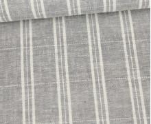 Baumwolle - Leinen - Feine Streifen - 160g - Beigegrau