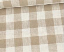Baumwolle - Leinen - Kariert - 160g - Beige