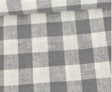 Baumwolle - Leinen - Kariert - 160g - Beigegrau