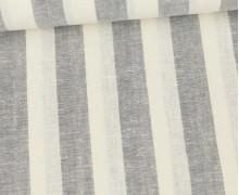 Baumwolle - Leinen - Streifen - 160g - Beigegrau