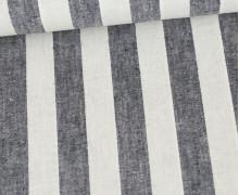 Baumwolle - Leinen - Streifen - 160g - Dunkelblau Meliert